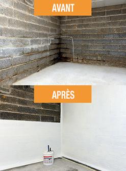 Mur enterré avant et après traitement